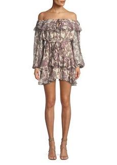 Zimmermann Breeze Off-the-Shoulder Paisley-Print Silk Dress