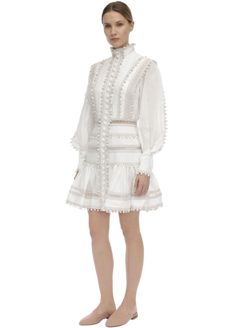 Zimmermann Button Up Linen Mini Dress