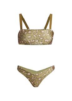 Zimmermann Carnaby Two-Piece Leopard-Print Bandeau Bikini Set