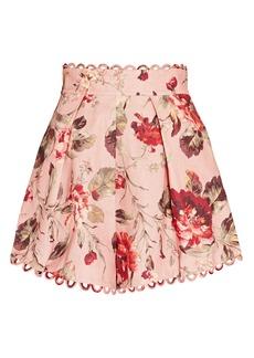 Zimmermann Cassia Floral Linen Shorts