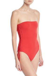 Zimmermann Castile Bandeau Lace-Up One-Piece Swimsuit