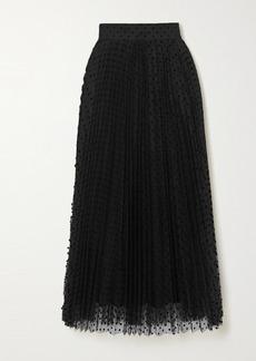 Zimmermann Charm Pleated Polka-dot Flocked Tulle Midi Skirt