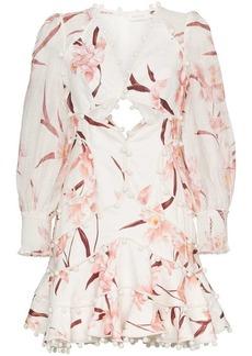 3d4f31213a3d2 On Sale today! Zimmermann Corsage Floral Plisse Long-Sleeve Mini Dress