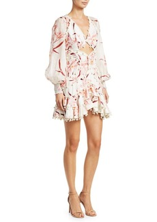Zimmermann Corsage Linen Orchid Bauble Mini Dress