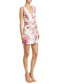 Zimmermann Corsage Orchid-Print Linen Safari Dress