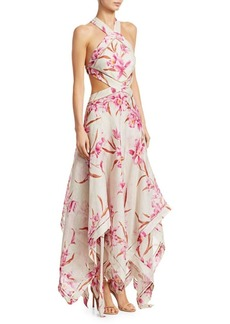 Zimmermann Corsage Orchid-Print Linen Silk Maxi Dress