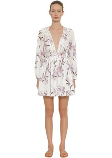 Zimmermann Corsage Pleated Floral Print Mini Dress