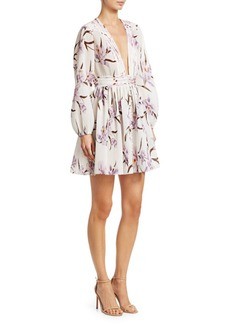 Zimmermann Corsage Plisse Orchid-Print Mini Dress