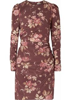 Zimmermann Draped Floral-print Silk-blend Crepe De Chine Mini Dress