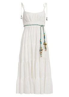 Zimmermann Edie Tiered Braid-Waist Midi Sun Dress