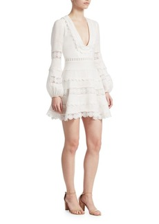 Zimmermann Embroidered Lace Linen Plunge Dress