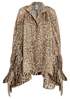 Zimmermann Espionage Batwing Leopard Silk Blouse