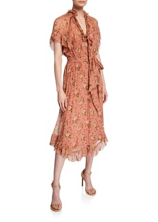 Zimmermann Espionage Frill Floral Midi Dress