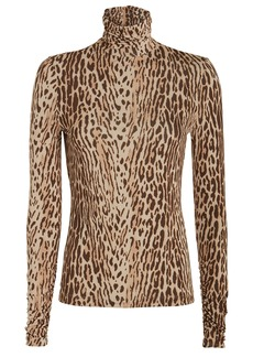 Zimmermann Espionage Leopard Jersey Turtleneck