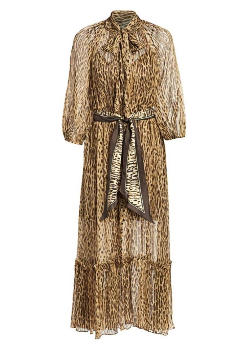 Zimmermann Eye Spy Leopard Tieneck Silk Maxi Dress