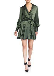 Zimmermann Espionage Long-Sleeve Silk Mini Wrap Dress