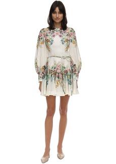 Zimmermann Floral Print Ramie Mini Dress