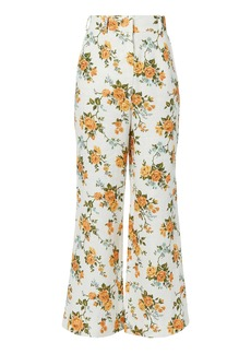 Golden Floral Crop Flare Pants