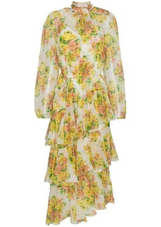 Zimmermann Golden tiered ruffle floral print midi dress