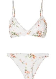 Zimmermann Heathers Lace-trimmed Floral-print Triangle Bikini
