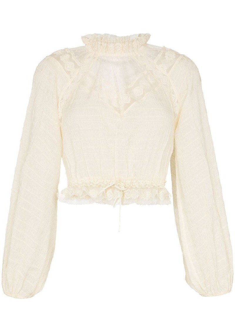 Zimmermann high-neck ruffle chiffon blouse