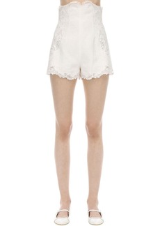 Zimmermann High Waist Embroidered Linen Shorts