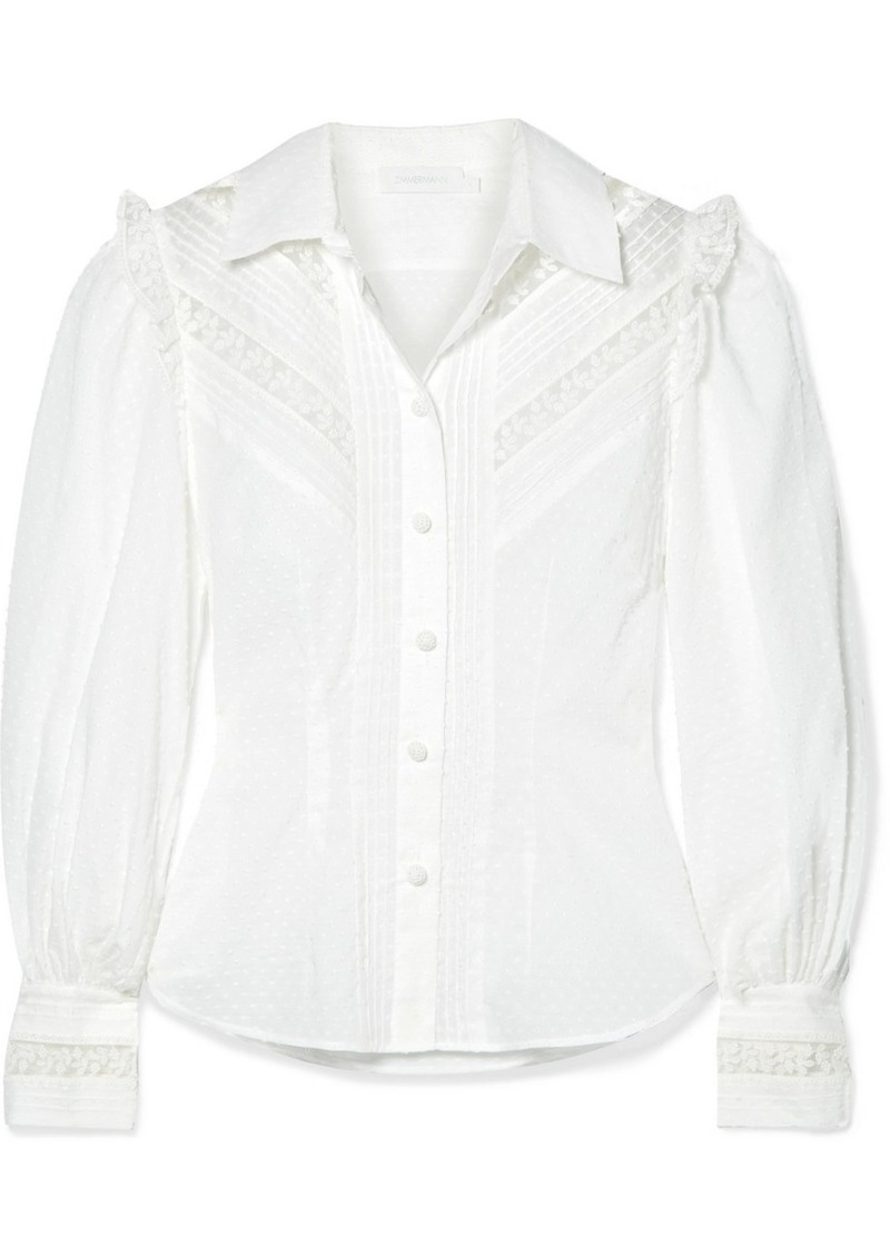 Zimmermann Honour Lace-trimmed Swiss-dot Cotton-voile Shirt