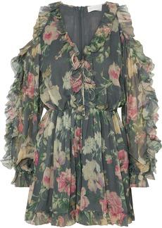 Zimmermann Iris Cold-shoulder Floral-print Silk-georgette Playsuit