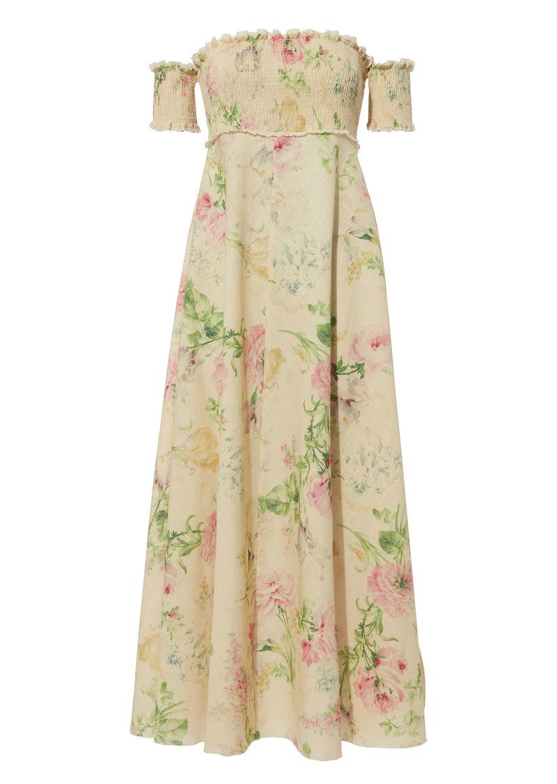 Zimmermann Iris Smocked Bodice Maxi Dress