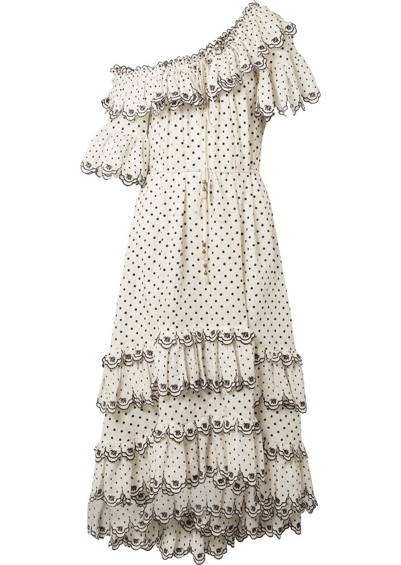Zimmermann Jaya Off-the-shoulder Tiered Embroidered Linen Midi Dress