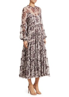Zimmermann Juno Aged Batik Silk Dress