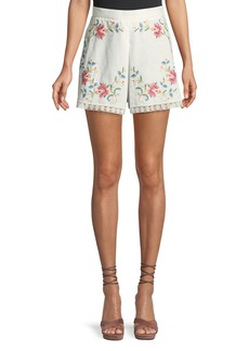 Zimmermann Laelia Cross-Stitch Floral Shorts