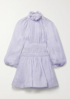 Zimmermann Luminous Open-back Gathered Linen And Silk-blend Mini Dress