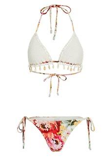 Zimmermann Mae Crochet-Trimmed Floral Bikini Set
