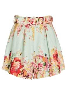 Zimmermann Mae Floral Belted Linen Shorts