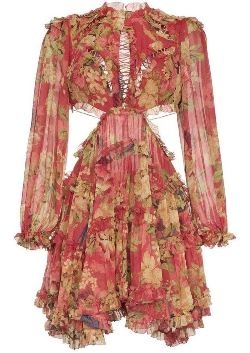 9d8349b6868ad Zimmermann Melody cutout floral-print silk-crepe mini dress | Dresses