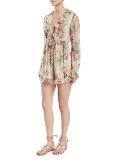 Zimmermann Melody Floating Floral-Print Ruffle Long-Sleeve Romper