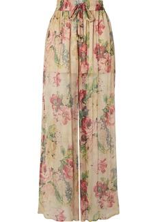 Zimmermann Melody Floral-print Silk-crepon Wide-leg Pants