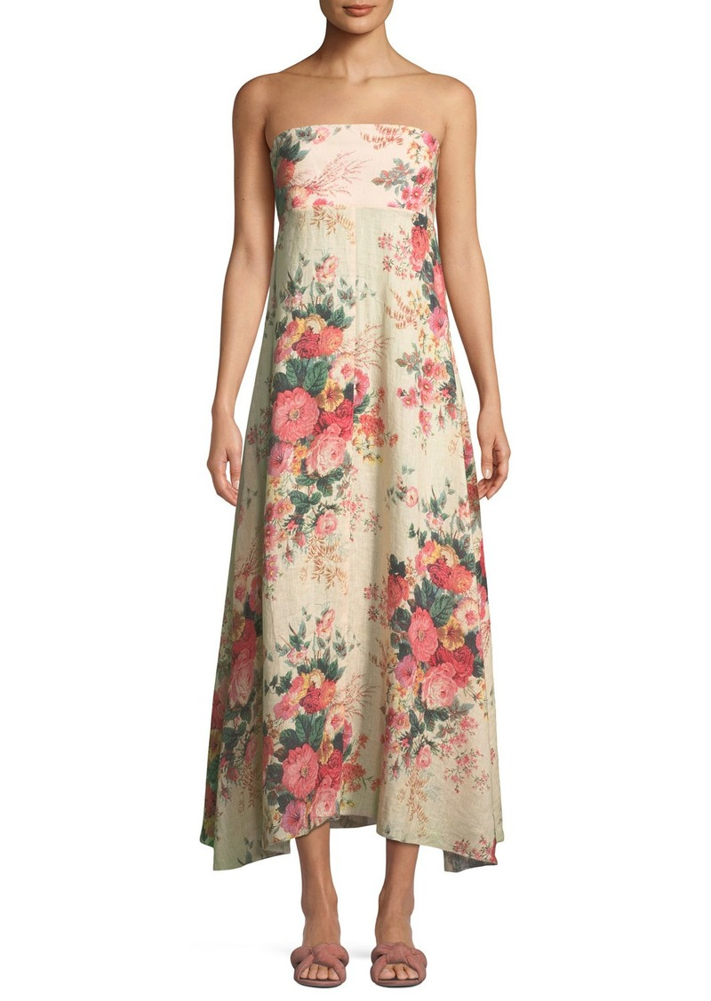 Zimmermann Melody Strapless Floral Print Linen Maxi Dress Dresses