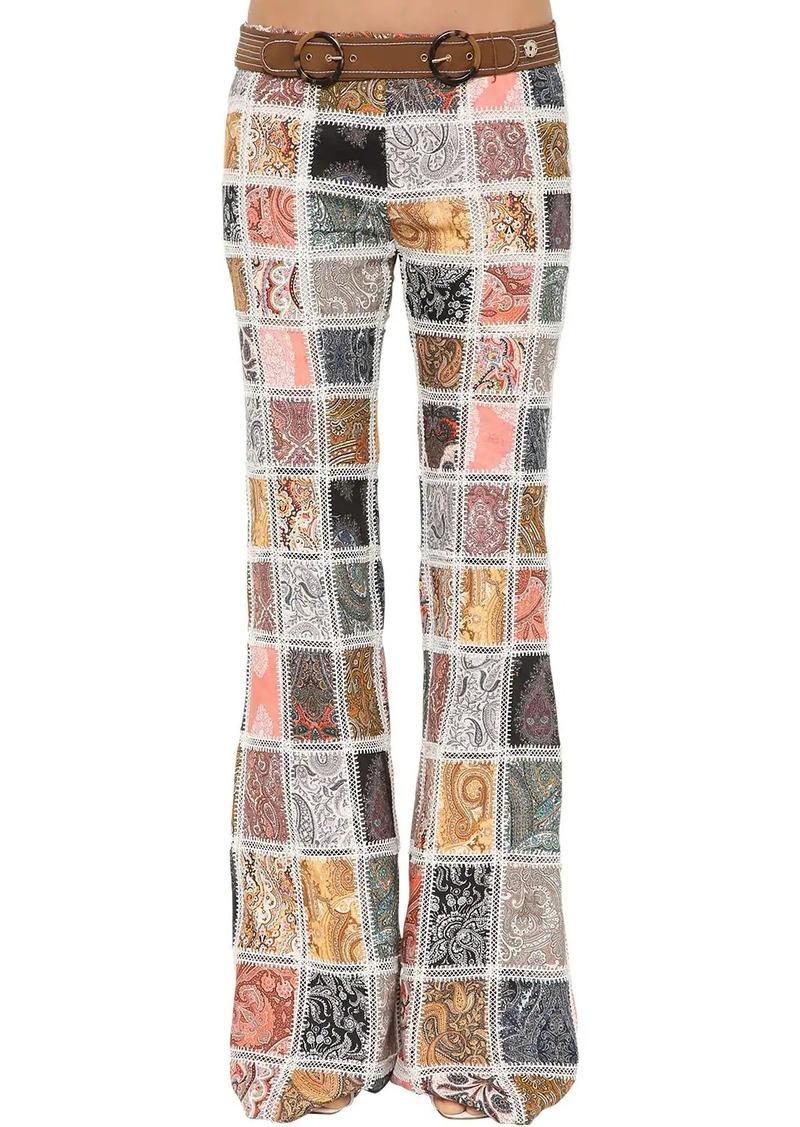 Zimmermann Ninety-six Patch Flare Leg Linen Pants