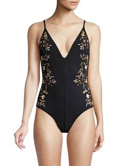 Zimmermann One-Piece Floral Plunge Swimsuit