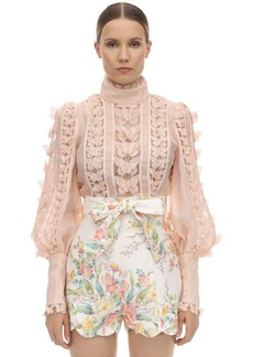 Zimmermann Organza Shirt W/ Butterfly Appliqués