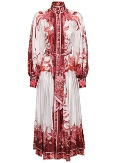 Zimmermann Pleated Print Silk Midi Dress