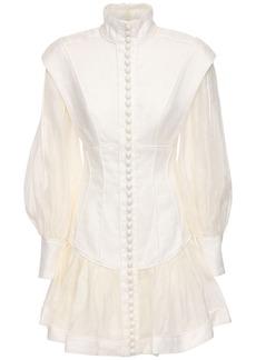 Zimmermann Printed Organza & Linen Mini Dress