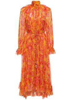 Zimmermann Printed Silk Georgette Midi Dress