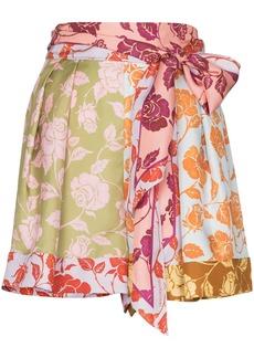Zimmermann rose print panelled silk shorts