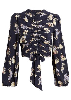 Zimmermann Sabotage Cropped Silk Blouse