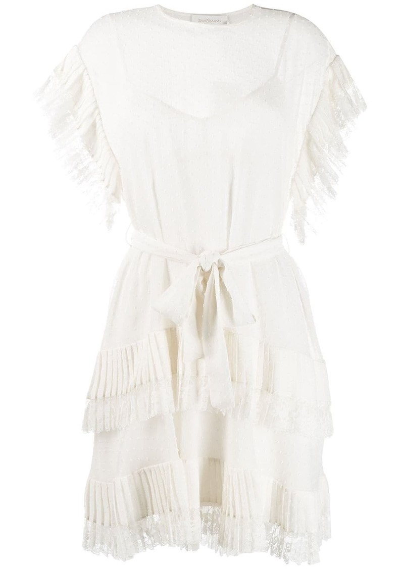 Zimmermann short sleeve tiered dress