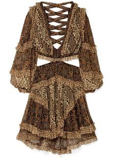 Zimmermann Tali Cutout Printed Silk-crepon Mini Dress