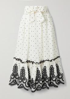 Zimmermann The Lovestruck Rope Embroidered Linen And Silk-blend Midi Skirt